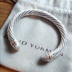 David Yurman 7m SS 18k. Pave Diamond Tip Bracelet